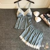居家服 春夏季新女吊帶短褲性感睡衣兩件套裝真絲綢家居服蕾絲帶胸墊正韓