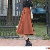 《CA1470》打褶設計面磨毛純色A字傘襬裙 OrangeBear