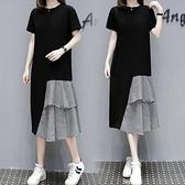 洋裝休閒裙長裙中大尺碼M-4XL大碼設計感氣質顯瘦短袖T卹連身裙過膝拼接長裙4F101-9830.胖胖唯依