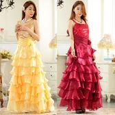 中大尺碼~大擺公主裙吊帶甜美長款晚禮服(F~3XL)