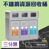 不鏽鋼三分類資源回收桶 TH3-90S (環保資源/回收桶/垃圾桶/紙簍/資源回收箱/分類桶)