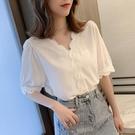 2021新款夏裝很仙的V領上衣設計感小眾短袖襯衫雪紡衫小衫T恤衫女 果果輕時尚