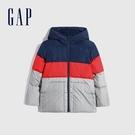 Gap男童 活力亮色連帽羽絨外套 592743-藍色拼接