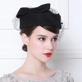 貝雷帽-英倫風網紗蝴蝶結時尚女羊毛呢帽2色73tk21【巴黎精品】