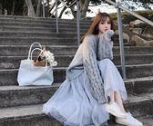 淑女風休閒針織毛衣半身裙兩件套S-XL秋冬毛衣加配网纱裙子两件套时髦套装T126-915
