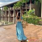 露背洋裝2021新款沙灘裙超仙巴厘島藍色露背性感三亞海邊度假長裙連身裙女 愛丫 免運