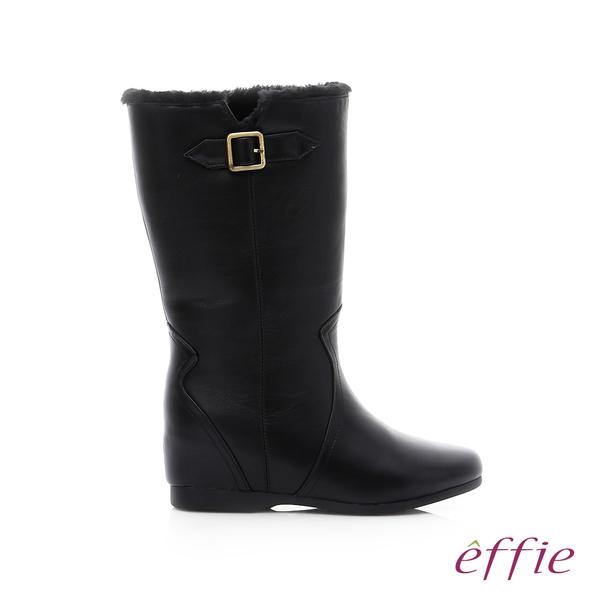 effie 心機美型 真皮絨毛內增高奈米長靴  黑