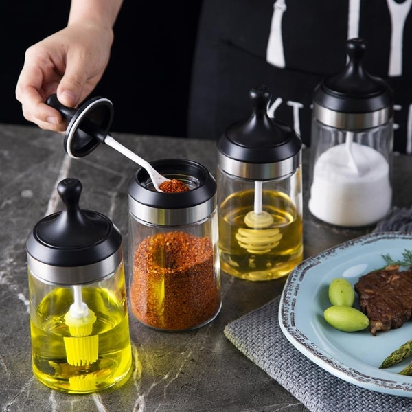 防潮調料盒玻璃家用密封調味瓶罐子鹽罐廚房胡椒粉味精瓶罐刷油壺