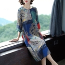 文藝風印花直筒顯瘦洋裝-中大尺碼 獨具衣格 J3708