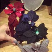 [輸入yahoo5再折!]韓國多層葉子蝴蝶結鑲鑽髮箍