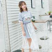新款韓版潮學院風網紗蕾絲拼接學生兩件套T恤洋裝女     時尚教主