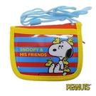 【日本進口正版】史努比 Snoopy 條紋款 掛繩 小錢包 小皮夾 零錢包 PEANUTS - 293367
