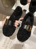 毛毛鞋女外穿2019秋冬新款韓版羊羔毛搭扣平底鞋加絨棉鞋豆豆鞋潮『艾麗花園』