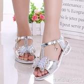 女童涼鞋韓版夏季時尚公主鞋中大童小女孩兒童高跟鞋軟底 ◣怦然心動◥