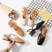包頭涼鞋女中跟復古方頭奶奶鞋一字扣粗跟仙女高跟鞋 伊鞋本鋪