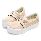 PLAYBOY 浪漫荷葉邊厚底休閒鞋-米-Y5707