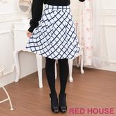 【RED HOUSE-蕾赫斯】拼接格子A字裙(淺藍色)