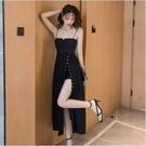 吊帶裙 設計感小眾外穿法式一字肩連身裙女夏氣質修身開叉性感長裙 快速出貨