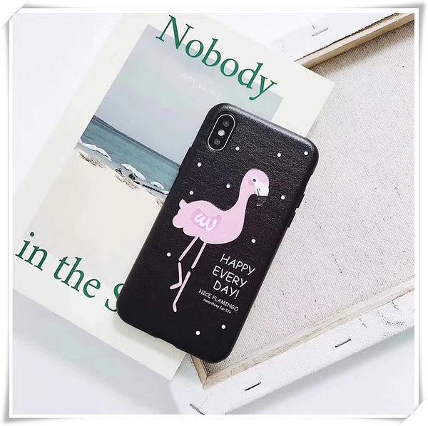 【萌萌噠】iPhone 7 / 7 Plus  韓風卡通情侶款 火烈鳥浮雕貼皮保護殼 全包彩繪軟殼 手機殼 手機套