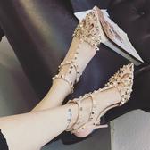 粉色/36 高跟涼鞋女 韓版女鞋子 歐美風朋克鉚釘涼鞋T字帶涼鞋鏤空尖頭涼鞋細跟高跟鞋C0711