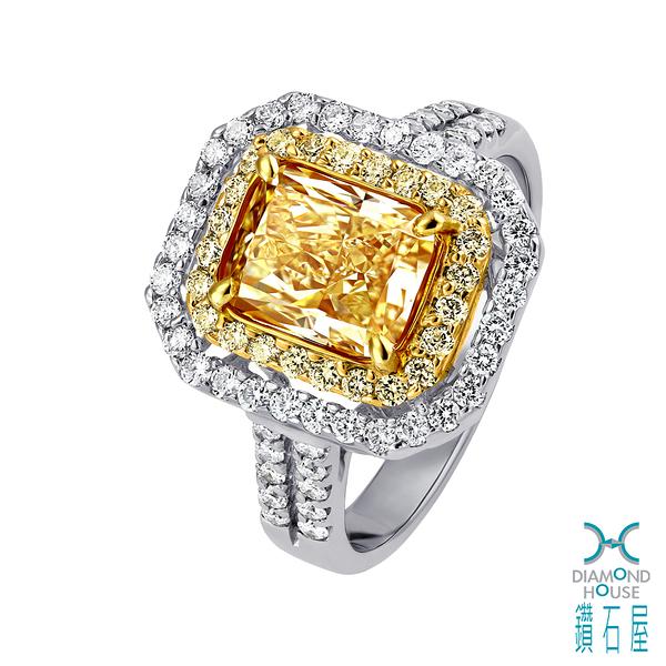 【鑽石屋】2克拉黃彩鑽戒指