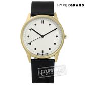 HyperGrand / CW01GWBLK / Classic Black 極簡工業風真皮手錶 米白x金框x黑 38mm★加購鋼化玻璃膜★