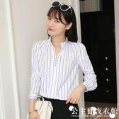新款寬鬆V領黑白雙條紋襯衫女長袖休閒百搭打底上衣