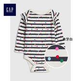 Gap女嬰兒 舒適時尚長袖三角式連身衣 395543-象牙白
