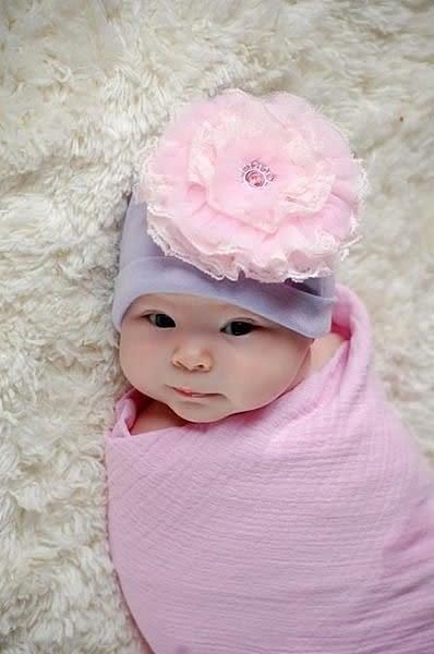 【美國 Jamie Rae】寶寶帽 / 棉帽 - 薰衣草底_淡粉紅蕾絲玫瑰