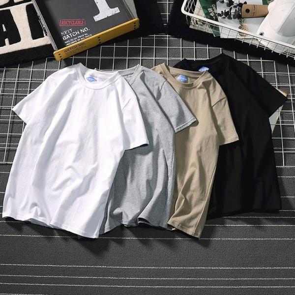 畫山龍日系文樂潮牌男裝t恤短袖衫情侶純色純棉打底衫夏季學生t恤   圖拉斯3C百貨