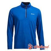 【wildland 荒野】男 彈性針織輕薄拉鍊領長袖上衣『寶藍』0A71626 T恤 上衣 長袖 排汗 休閒 戶外 登山
