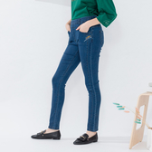 【中大尺碼】MIT口袋繡線英文牛仔褲