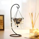 歐式復古浪漫創意鐵藝蠟燭臺擺件家居燭光晚餐道具水晶燭臺裝飾品