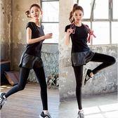 (全館一件免運)DE SHOP~運動褲 假兩件款式滾白邊韻律瑜伽褲S-M號【A-683】