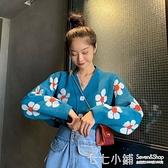 女裝2019初秋輕熟寬鬆顯瘦上衣V領小花朵針織短款長袖開衫外套潮