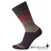 Smartwool 女 超輕型減震徒步印花中長襪-蘇拉威西條紋『酒紅』SW004033 美國製|保暖襪|登山襪