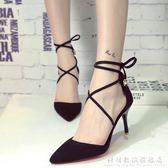 綁帶涼鞋春夏季新款百搭尖頭低筒細跟優雅9厘米高跟鞋交叉綁帶涼鞋女 科炫數位