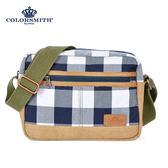 【COLORSMITH】CC・方形斜背包-藍灰格紋・CC1126-A-GB