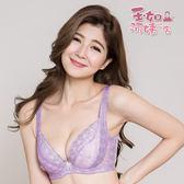 【玉如阿姨】幻彩星紗內衣。深V-蕾絲-性感-托高-集中-機能-台灣製-B.C.D。※0364紫