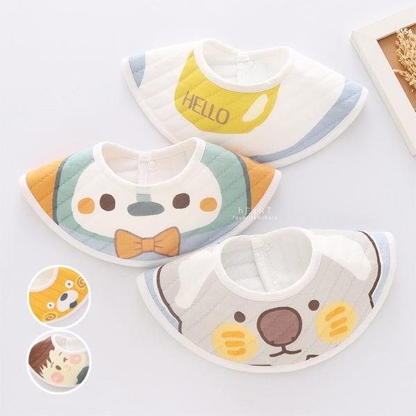 可愛圖案圓型造型口水巾 3入組 口水巾 圍兜兜 擦嘴巾