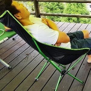 巨安網購?【106102409】頭枕折疊椅 釣魚椅 野營沙灘椅 月亮椅(含手提包)