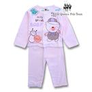 RQ POLO 幼童夏季粉色小熊圖案薄棉長袖前開襟居家休閒服 睡衣套裝 [41725]