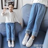 女童寬管褲牛仔褲春秋洋氣十歲小學生11直筒褲12兒童寬鬆秋款褲子