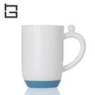 【HG】矽膠底防滑陶瓷杯牛奶杯(藍)/350ml (現貨+預購)