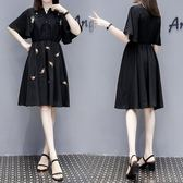 中大尺碼XL-5XL韓版中長款洋裝大碼女裝夏裝繡花收腰顯瘦胖妹妹連衣裙3F104-6062