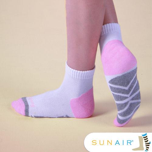 sunair 滅菌除臭襪子-慢跑襪款1/2筒M(21~24.5) (白+粉紅+淺灰) /SA0401
