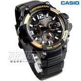 CASIO卡西歐 MCW-100H-9A2 行家必備經典三眼指針運動錶 男錶 黑X金框 MCW-100H-9A2VDF