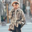 Queen Shop【02071176】配色格紋寬版飛鼠袖外套 兩色售*現+預*