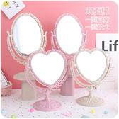 化妝鏡ins愛心形宿舍臺式公主鏡子桌面裝飾少女粉色桃心化妝梳妝鏡學生