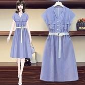 洋裝條紋裙中大尺碼L-4XL胖mm時尚條紋顯瘦減齡收腰連身裙4F093-3165.胖妹大碼
